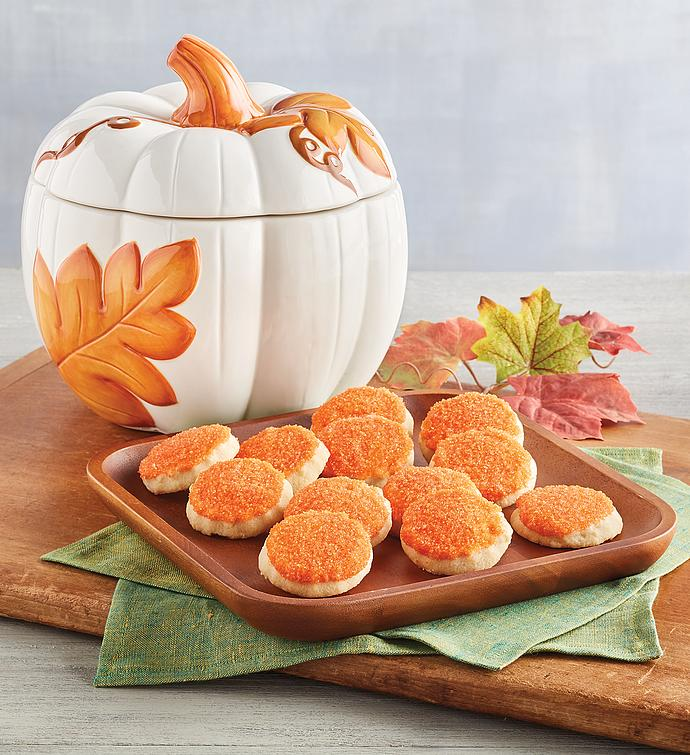 Fall Pumpkin Cookie Jar with Cookies