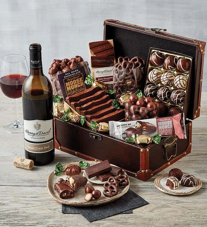Chocolate Treasure Box with Wine