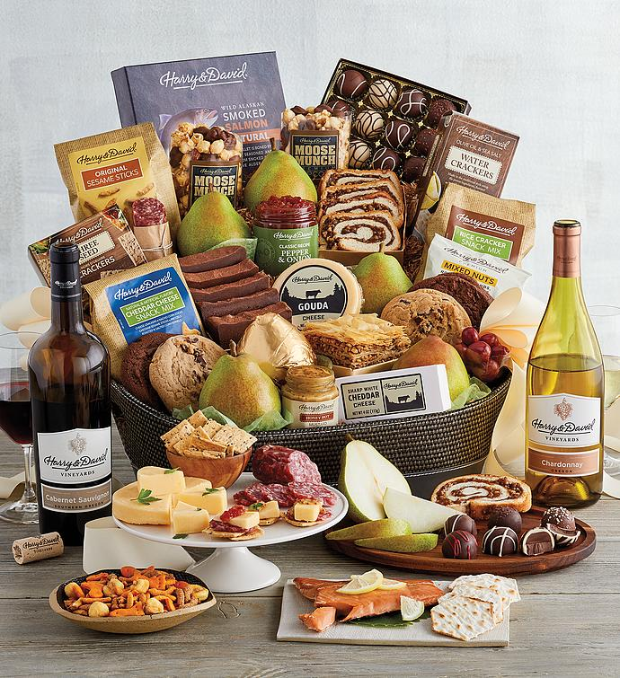 Deluxe Hearthside Gift Basket with Wine