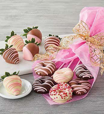 Belgian Chocolate-Covered Strawberries and Donut Bouquet