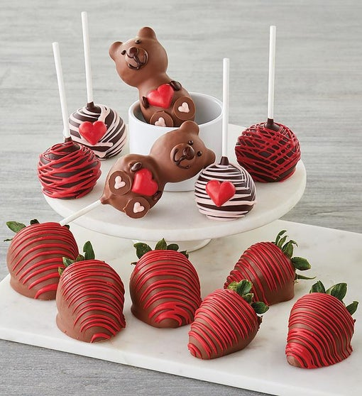 Valentine's Day Chocolate-Covered Strawberries and Cake Pops