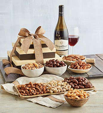 Premium Nut Gift Tower with Wine