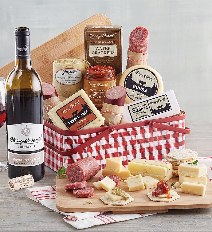 Meat and Cheese Picnic Tin with Wine