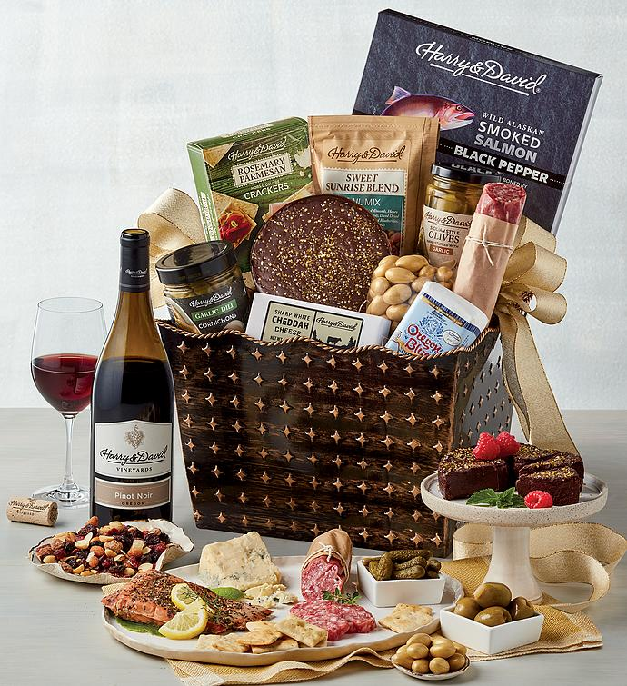 Classic Luxury Gourmet Gift Basket with Wine