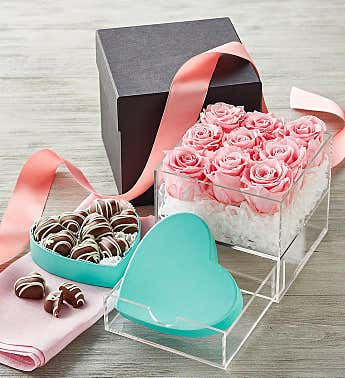 Magnificent Roses® Preserved Pink Roses and Harry & David® Truffles