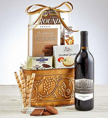 Grapevine Red Wine Gift Basket