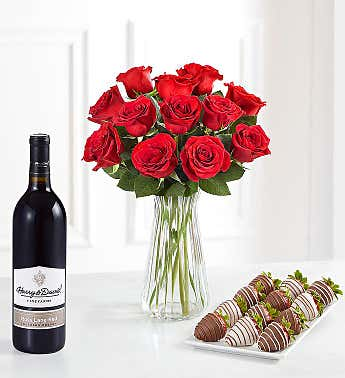 Deliciously Decadent™ Red Roses, Strawberries and Wine