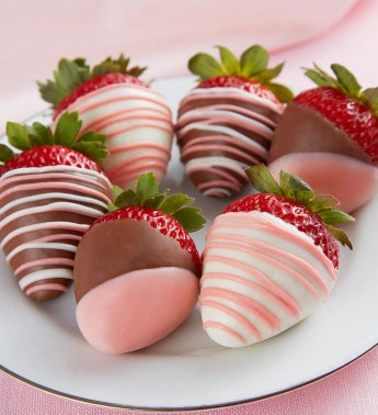 Pretty in Pink Chocolate-Covered Strawberries – 6 Count