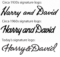 Harry and David logos from the 1930s to today