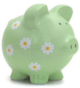 Personalized Hand-Painted Daisy Piggy Bank