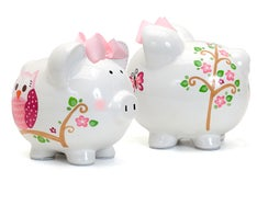 Personalized Hand-Painted Dotted Owl Piggy Bank