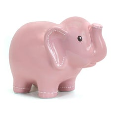 Personalized Hand-Painted Pink Stitched Elephant Bank