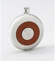 Round Flask with Leather inset