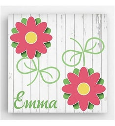 Personalized 14 x 14 Flower Kids Canvas Sign