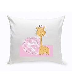 Baby Girl Giraffe Nursery Throw Pillow
