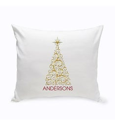 Personalized Gold Christmas Tree Throw Pillow
