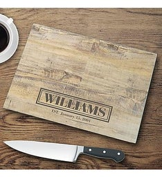 Personalized Rustic Wood Glass Cutting Board