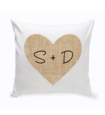 Burlap Heart Personalized Throw Pillow