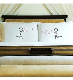 Personalized Stick Figure Couples Pillow Set