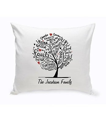Personalized Family Roots Throw Pillow