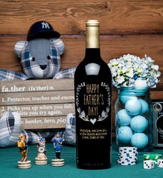 Personalized Fathers Day Wreath Etched Wine