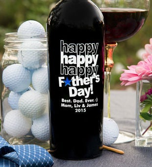 Personalized Triple Happy Father's Day Star Wine