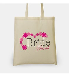 Personalized Floral Bride Tote Bag