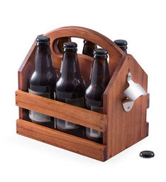 Personalized Brown Solid Wood Beer  Beverage Caddy