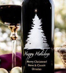 Elegant Tree  Star Personalized Wine Bottle