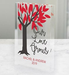 Personalized Our Love Grows Acrylic Block Keepsake