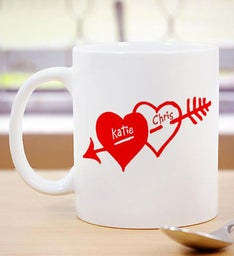 Personalized Two Hearts Valentine Coffee Mug