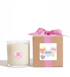 Personalized Hearts Candle