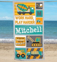 Personalized Work Hard Play Harder Truck Towel