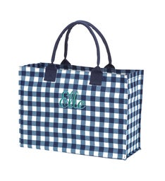 Personalized Navy Check Tote
