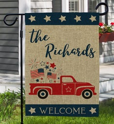 Personalized Patriotic Welcome Burlap Flag