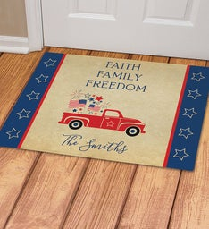 Personalized Faith Family Freedom Doormat