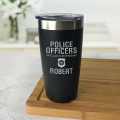 Personalized Police Hero Black Tumbler