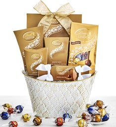 Golden Lindt Chocolates Assortment Basket