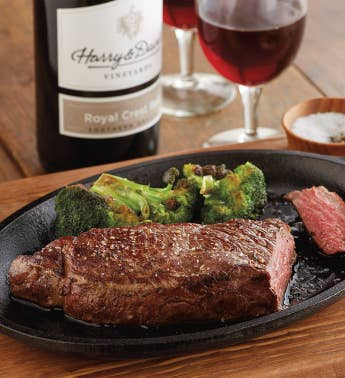 Grass-Fed New York Strip Steak - Two 10-Ounce USDA Choice with Wine