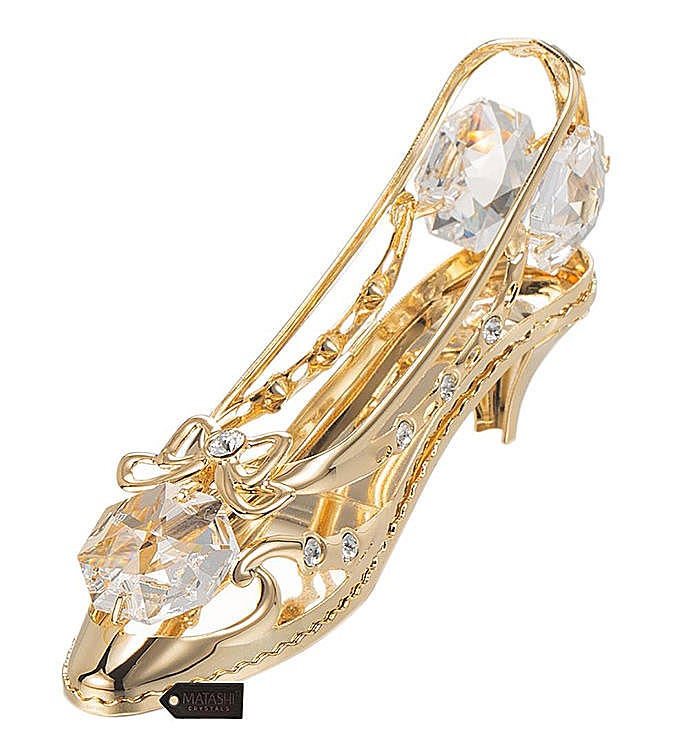 Gold Plated Crystal Studded Lady Shoe Ornament