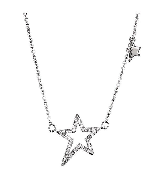Rhodium Plated CZ Star Chain Necklace for Women