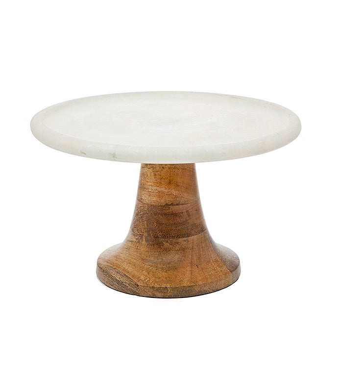 Wood  Marble Pedestal Cakestand