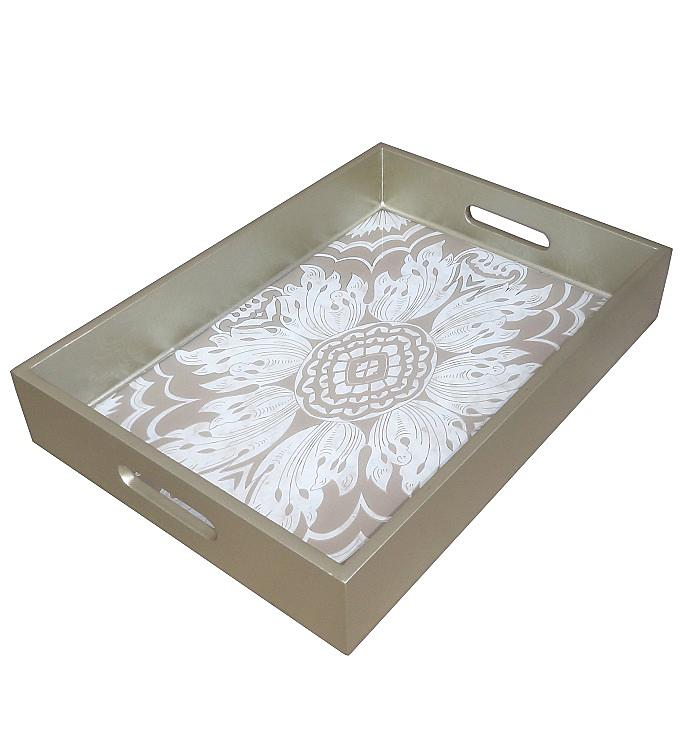 Handmade Reverse Painted Mirror Tray - Medium