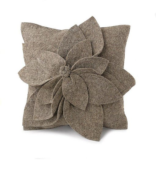 Hand Felted Wool  Pillow Cover - 3D Flower