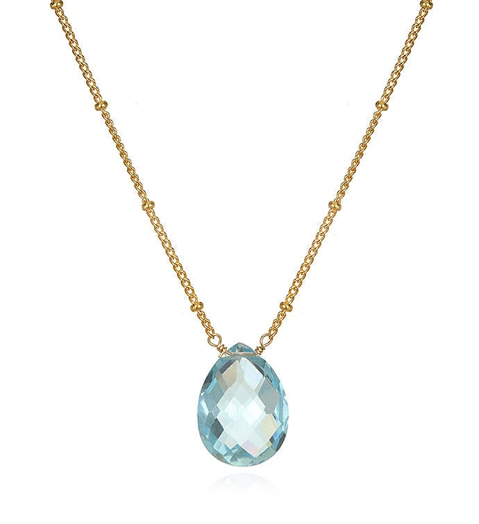 Blue Topaz Gold Pear Shape Drop Necklace 18-inch