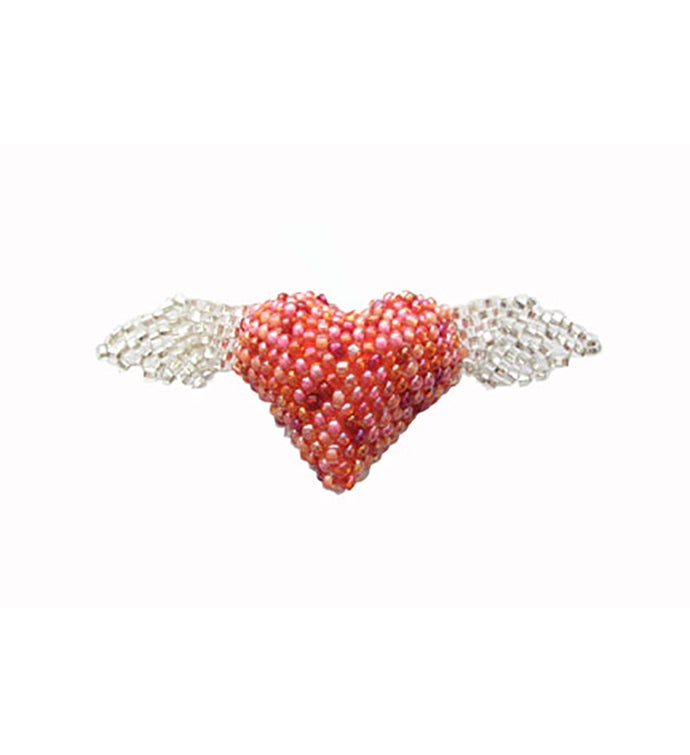 Beaded Heart wWings Pin - Pink