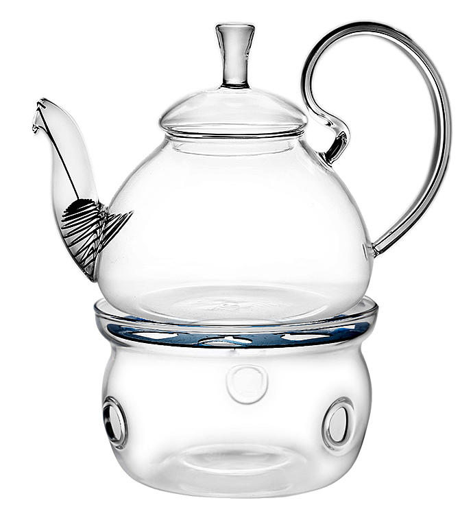 Elegant Glass Teapot  Warmer Combo