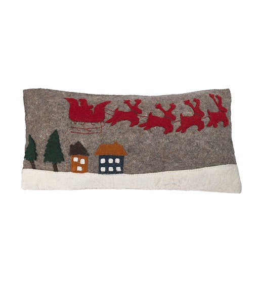 Hand Felted Wool Christmas Pillow Cover