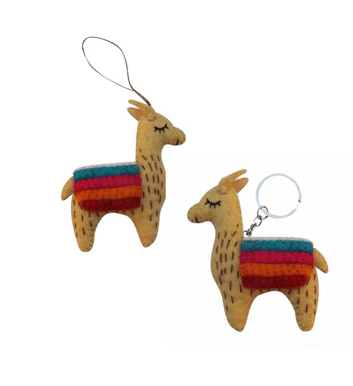 Hand Crafted Felted Llama Key chain  Ornament Set