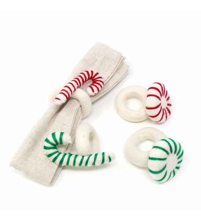 Handmade Felt Christmas Peppermint Napkin Ring Set Of 4